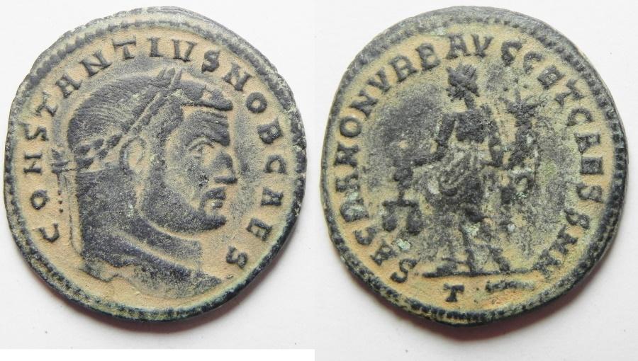 Ancient Coins - Constantius I. As Caesar Æ Follis. Trier