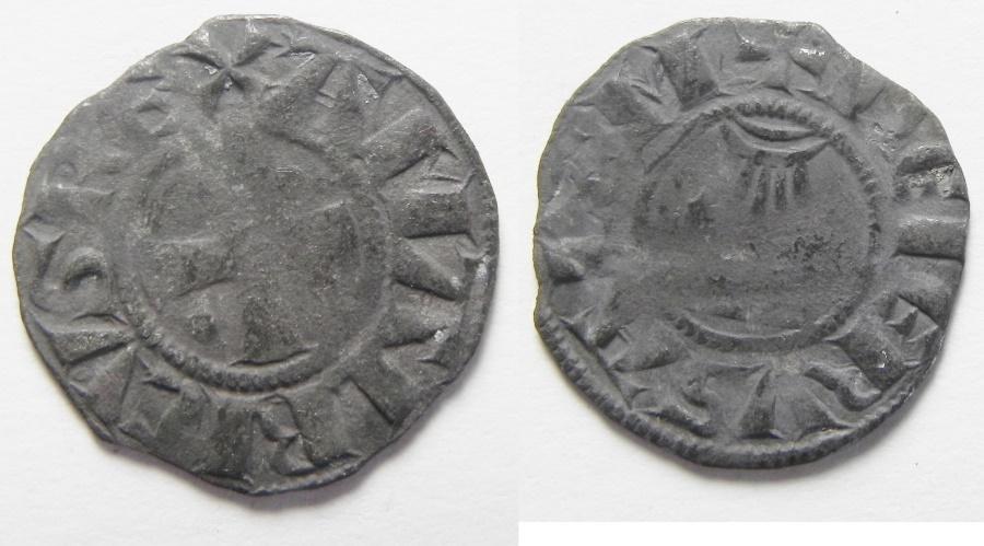 World Coins - MEDIEVAL. Crusader States. Kingdom of Jerusalem. King Amaury (1163-1174). Billon denier (17mm, 0.78g).