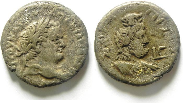 Ancient Coins - EGYPT , ALEXANDRIA , TITUS , AR TETRADRACHM , SERAPIS BUST