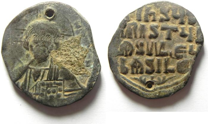 Ancient Coins - ANONYMOUS BYZANTINE FOLLIS / JESUS CHRIST, BEAUTIFULL COINS , PIERCED