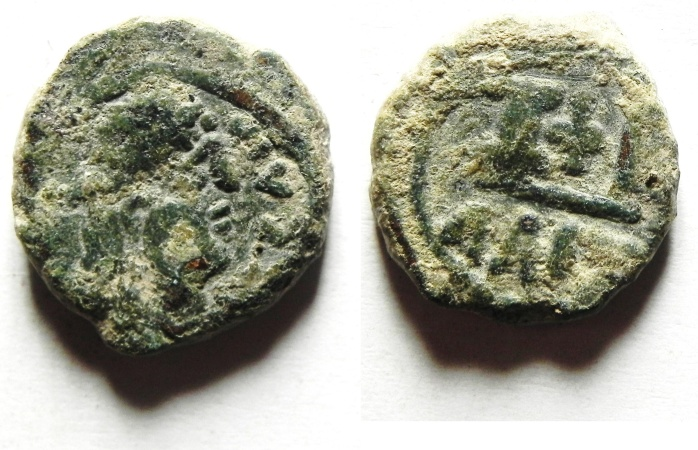 Ancient Coins - Justin I (518-527 AD). AE 12 nummi. Alexandria Mint. AS FOUND
