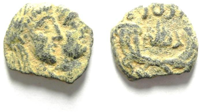 Ancient Coins - NABATAEAN KINGDOM , RABBEL II & GAMILAT AE 15 , BEAUTIFULL QUALITY , DESERT PATINA