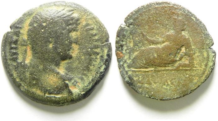 Ancient Coins - EGYPT , ALEXANDRIA, HADRIAN AE HEMIDRACHM