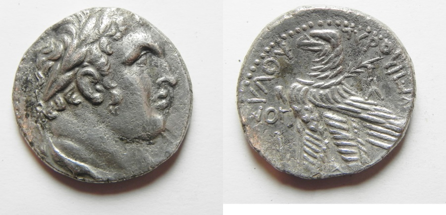 Ancient Coins - A very rare year , Upublished?: Phoenicia. Tyre. AR shekel (tetradrachm) (25mm, 13.28g). Struck in civic year 73 (57/6 BC).