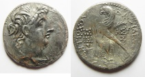 Ancient Coins - GREEK. Seleukid kings. Antiochos VIII Grypos (121/0-96 BC). AR tetradrachm (29mm, 12.71g) Ascalon mint. Struck in SE 200 (113/12 BC).