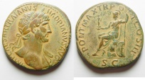 Ancient Coins - ROMAN IMPERIAL. Hadrian (AD 117-138). AE sestertius (39mm, 21.76g). Rome mint. Struck c. AD 119-121