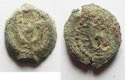 Ancient Coins - NICE AS FOUND JUDAEAN. HEROD I THE GREAT PRUTAH