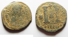 Ancient Coins - BYZANTINE. JUSTINIAN I AE FOLLIS. ANTIOCH