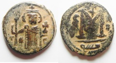 Ancient Coins - BEAUTIFUL ARAB-BYZANTINE AE FALS, DAMASCUS MINT