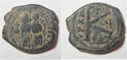 Ancient Coins - BYZANTINE. JUSTIN II & SOPHIA HALF FOLLIS