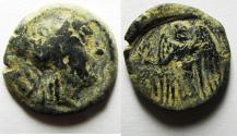Ancient Coins - NABATAEAN KINGDOM , ARETAS II OR III AE 17 , OVERSTRUCK ON PTOLEMY COIN , CHOICE