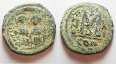 Ancient Coins - BYZANTINE. JUSTIN II & SOPHIA AE FOLLIS. CONSTANTINOPLE