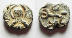 Ancient Coins - BYZANTINE. Lead seal impression (16mm, 4.70g). Seventh century AD.