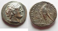 Ancient Coins - An extremely rare variety : Egypt. Ptolemaic kings. Ptolemy II Philadelphos (285-246 BC). AR tetradrachm (26mm, 14.11g). Uncertain mint imitating Ptolemais (Ake). Struck c. 265-246