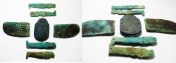 Ancient Coins - ANCIENT EGYPT. A GROUP OF WINGED SCARAB COMPONENTS. FAIENCE. 600 - 300 B.C