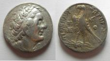 Ancient Coins - Egypt. Ptolemaic kings. Ptolemy II Philadelphos (285-246 BC). AR tetradrachm (26mm, 13.97g). Ptolemais (Ake) mint. Struck in regnal year 33 (253/2 BC).