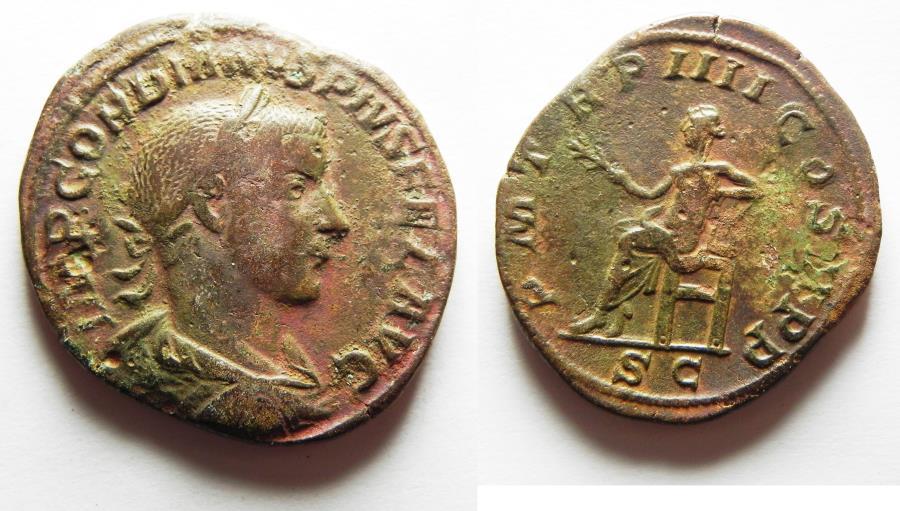 Ancient Coins - Gordian III Æ Sestertius