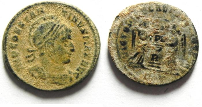 Ancient Coins - VERY SCARCE CONSTANTINE I AE 3 , AS FOUND, LIGHT SANDY PATINA