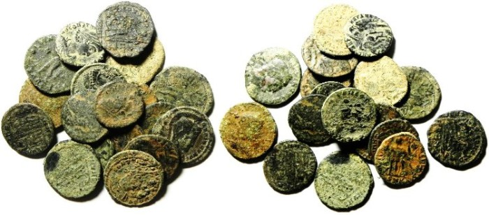 Ancient Coins - LOT OF 19  ROMAN BRONZE COINS, AS FOUND