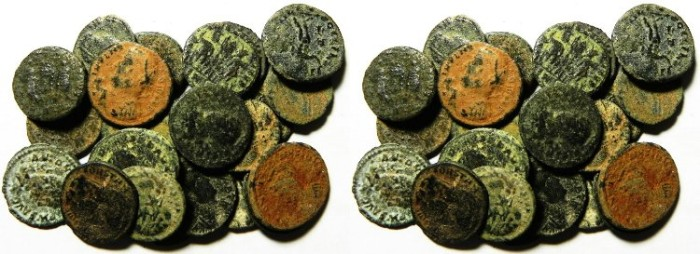 Ancient Coins - LOT OF 23 ROMAN BRONZE COINS, AS FOUND