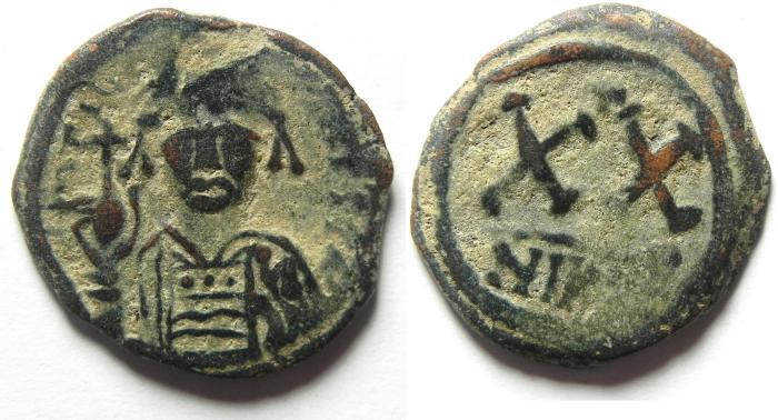 Ancient Coins - BYZANTINE , PHOCAS AE HALF FOLLIS