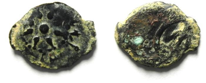 Ancient Coins - Alexander Jannaeus , JUDAEA , AE LEPTON - WIDOW'S MITE