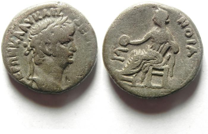 Ancient Coins - Egypt, Alexandria, Nero, AD54-68, Billon Tetradrachm , HOMONOIA SEATED, YEAR 6 , VERY RARE