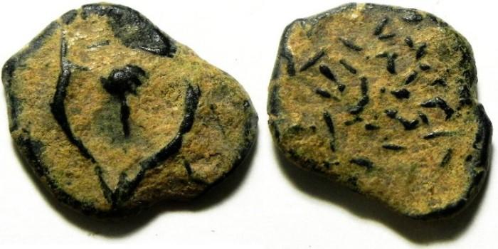 Ancient Coins - HASMONEAEN AE PRUTAH , ORIGINAL PATINA!!!!