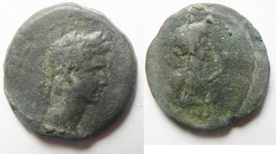 Ancient Coins - Egypt. Alexandria under Augustus (27 BC-AD 14). AE diobol (24mm , 6.80g). VERY rare with Euthenia
