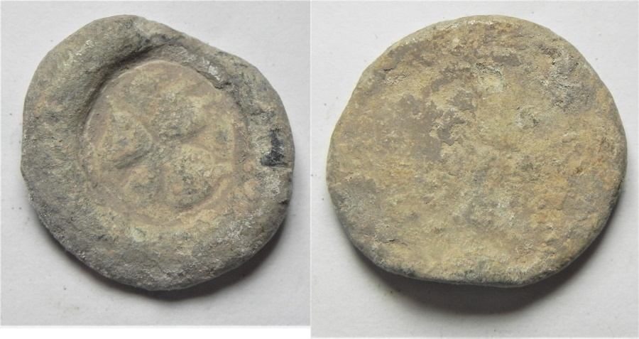 Ancient Coins - BYZANTINE. LEAD BULLA WITH CROSS