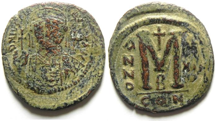 Ancient Coins - BYZANTINE , HUGE FOLLIS OF JUSTIN I , 41MM