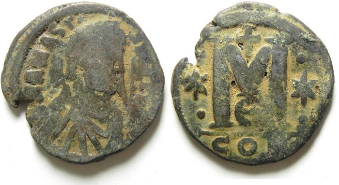 Ancient Coins - BYZANTINE , ANASTASIUS AE FOLLIS , QUALITY IS NOT HIGH , BUT VERY ATTRACTIVE IN A WAY!!