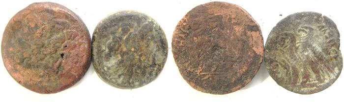 Ancient Coins - LOT OF 2 PTOLEMAIC AE COINS, LARGEST 32MM