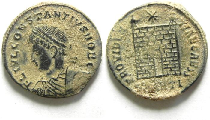 Ancient Coins - BEAUTIFULL CONSTANTIUS II AE 3 , NICE DESERT PATINA, CAMP GATE