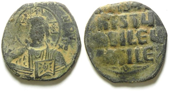 Ancient Coins - ANONYMOUS BYZANTINE FOLLIS / JESUS CHRIST, BEAUTIFULL COIN