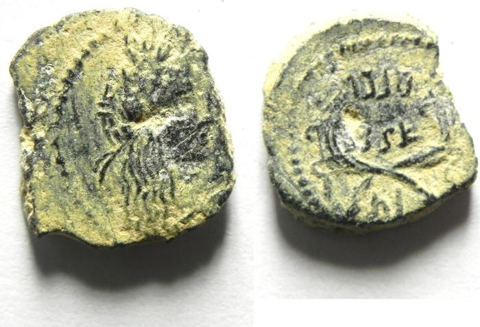 Ancient Coins - NABATAEAN , MALICHUS II AE 15 , PETRA MINT, NICE COIN!