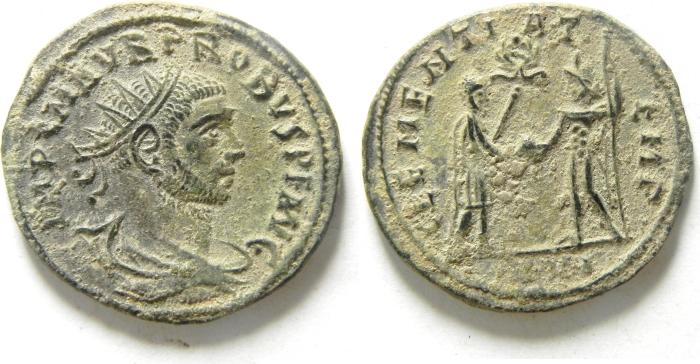 Ancient Coins - PROBUS SILVERED ANTONINIANUS AS FOUND , CHOICE QUALITY