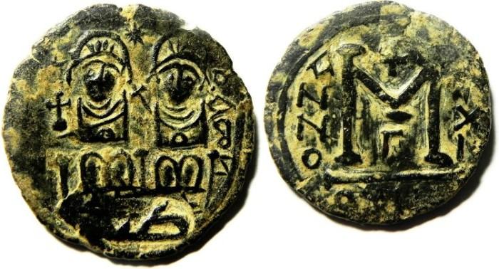 """Ancient Coins - ARAB BYZANTINE , GERASA AE FILS, COUNTERMARKED WITH """"TAYEB"""""""