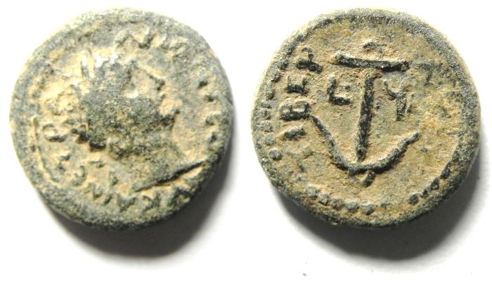 Ancient Coins - JUDAEA , GALILEE , TIBERIAS , TRAJAN , BEAUTIFULL AE 14