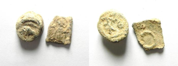 Ancient Coins - LOT OF 2 BYZANTINE LEAD BULLAE
