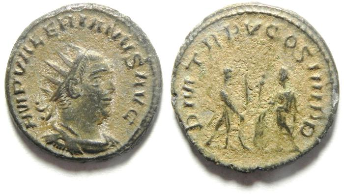 Ancient Coins - BEAUTIFULL AS FOUND VALERIAN I BILLON / SILVER ANTONINIANUS , AS FOUND