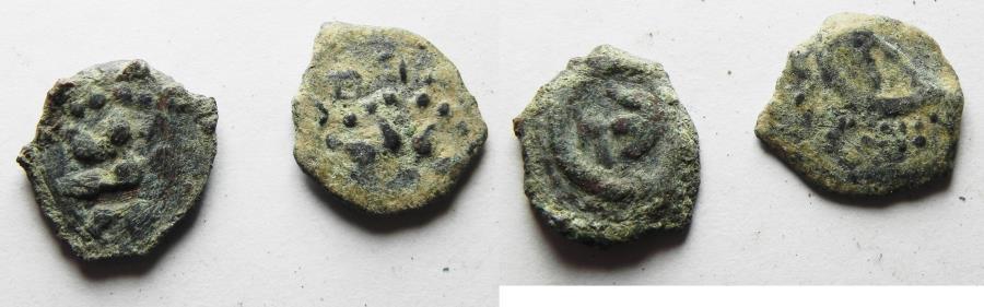 Ancient Coins - 2 Ancient Biblical Widow's Mite Coins of Alexander Jannaeus . AS FOUND!