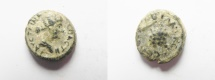 Ancient Coins - Decapolis. Abila. Struck c. AD 145-176. Faustina Junior / bunch of grapes on vine. AE  15