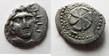 Ancient Coins - GREEK. Rhodes. Rhodos. AR drachm (19mm, 2.68g). Apollonidas, magistrate. Struck c. 85-30 BC.