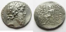 Ancient Coins - GREEK. Seleukid kings. Demetrios II Nikator (second reign, 129-126/5 BC). AR tetradrachm (30mm, 16.51g). Antioch mint. Struck 129-128 BC.