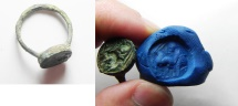 Ancient Coins - ROMANO-BYZANTINE. AE seal ring (27mm ). Intaglio design on bezel depicts man advancing l. behind Antelope.