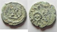 Ancient Coins - Judaea. Herodian dynasty. Herod I (40-4 BC). AE two prutot (18 mm, 3.02g). Jerusalem mint.