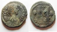 Ancient Coins - NICE JUSTINIAN I AE FOLLIS