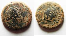 Ancient Coins - PTOLEMAIC EMPIRE. CYRENE , PTOLEMY V AE23 , WITH LIBYA ON REVERSE