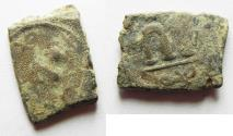 Ancient Coins - ARAB-BYZANTINE FALS. RARE WITH MOHAMMAD TO LEFT OF EMPEROR, AND SAME UNDER M